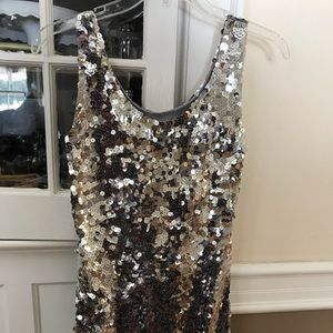 NWT Silver Sequins Mini Cocktail Dress ( or top)